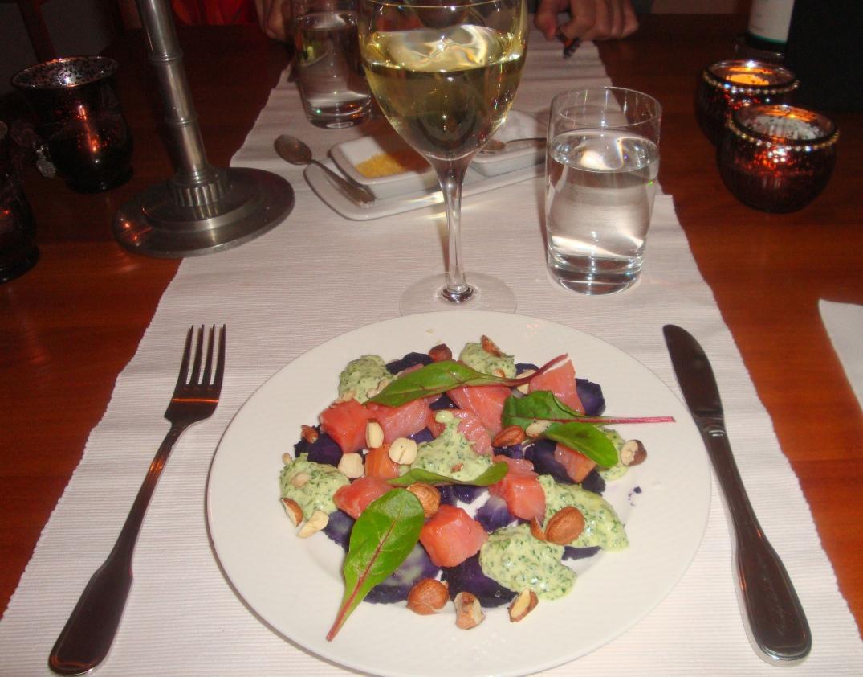 Lila potatis med vin