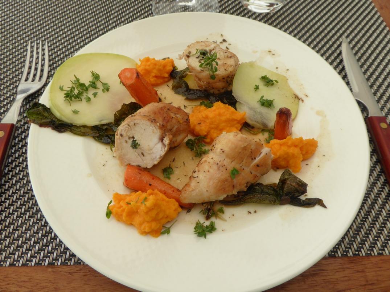 Kyckling med ramslök och morotspuré