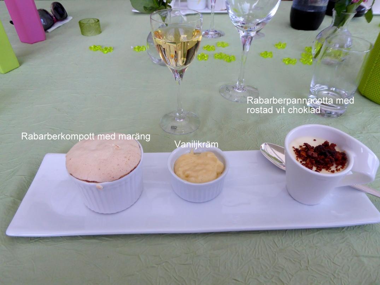Rabarberkompott med maräng, vaniljkräm, rabarberpanacotta med rostad vit choklad